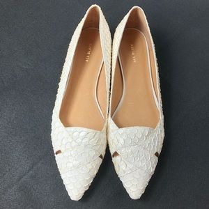 Anthro All Black White Pointed Toe Flats SZ 10